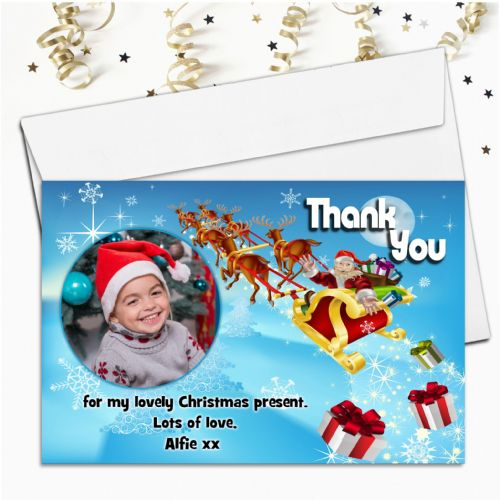 10 Personalised Christmas Xmas Thank you PHOTO Cards N17